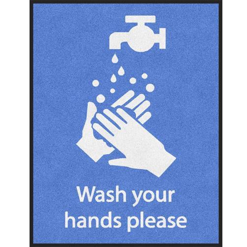 Hinweismatte Hände waschen englisch